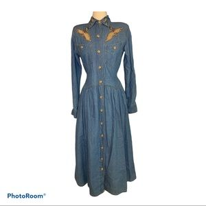 Vintage Jean Cowgirl Dress with Embellishm…